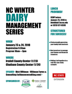 NC Winter Dairy Management Series flyer